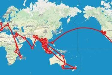 Mapa viaje por el mundo
