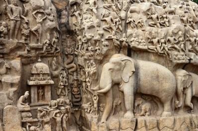 Pared esculpida de la Penitencia de Arjuna