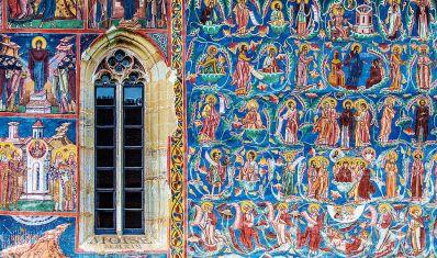 Detalle de los frescos exteriores del monasterio de Moldovita