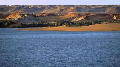 Vista del lago Yoa, en Unianga