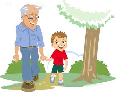 Ir juntos a la par. El amor de abuelo y nieto.