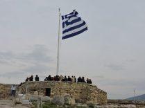 Bandera griega en la Acropolis