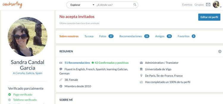 Perfil de Couchsurfing