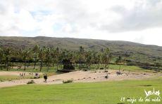 La playa de Anakena en la Isla de Pascua