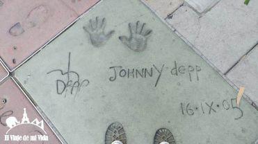 Huellas de Johnny Depp en Hollywood