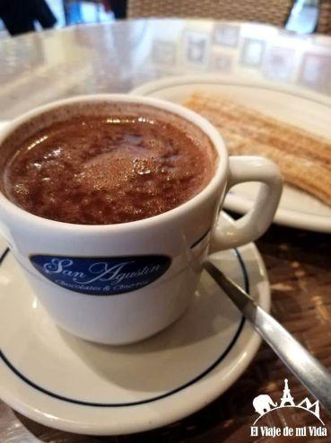 Chocolate en agua y churros