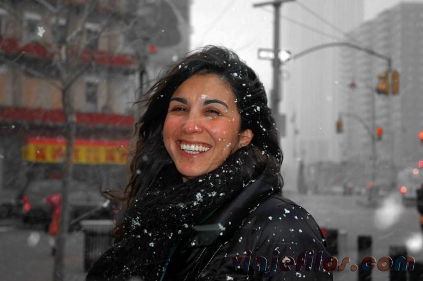 Chinatown de Nueva York, un día de nieve