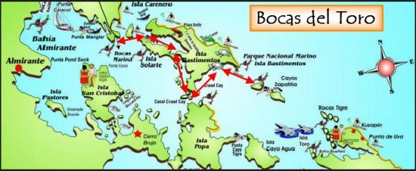 Mapa Archipielago Bocas del Toro