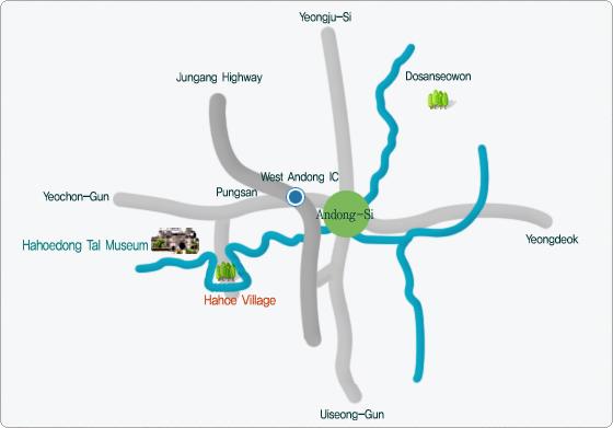 Mapa Hahoe