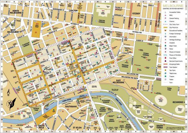 Mapa Melbourne centro