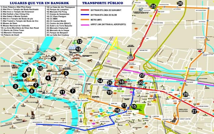 Mapa turistico de Bangkok