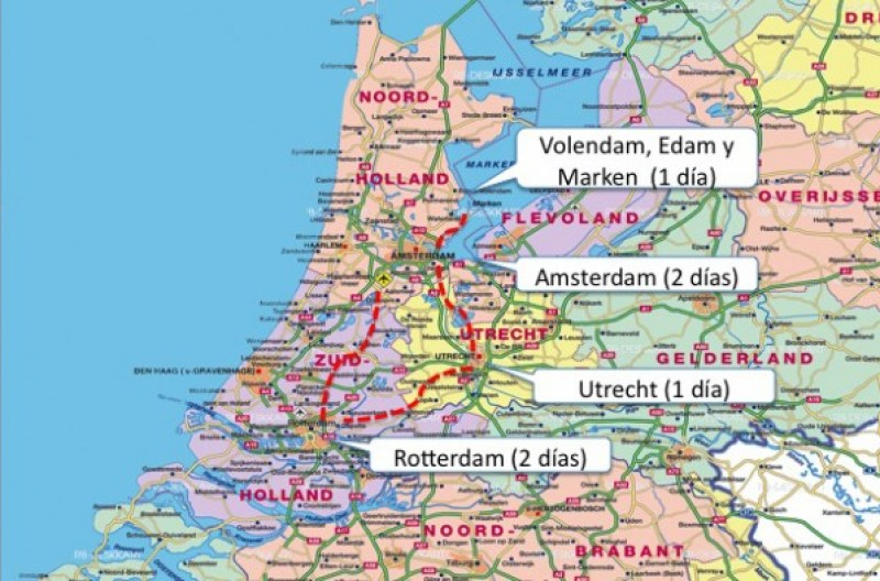 Recorrido Holanda de una semana de viaje en tren