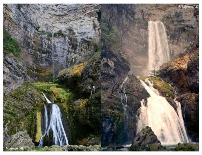 caudal en la cascada de los chorros del río Mundo