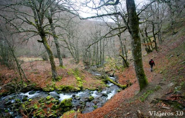 sendero de Tres Aguas al Pozo Negro en la Sierra de la Demanda, Burgos.