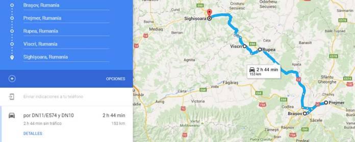 Ruta de Brasov a Sighisoara