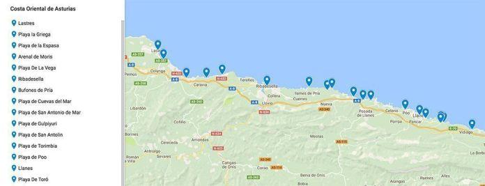 mapa de la ruta con las mejores playas y pueblos de Asturias