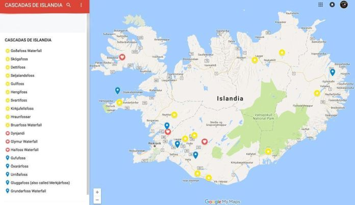 Mapa de localización de las mejores cascadas de Islandia