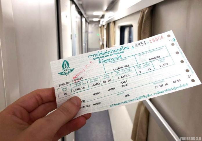 Billete para los trenes de Tailandia.
