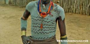 Tribal body painting from a tribe at the Omo Valley, Ethiopia