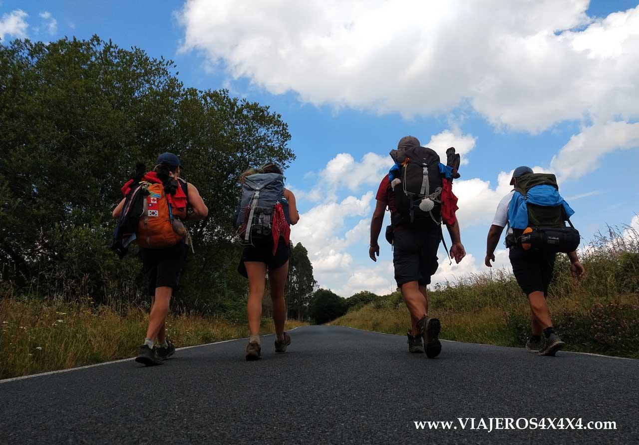 Peregrinos caminando hacia Santiago de Compostela