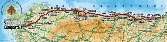 Mapa del Camino del Norte a Santiago de Compostela