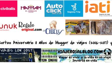 Sorteo Aniversario 11 años de blogger de viajes 2006-2017_ViajerosAlBlog