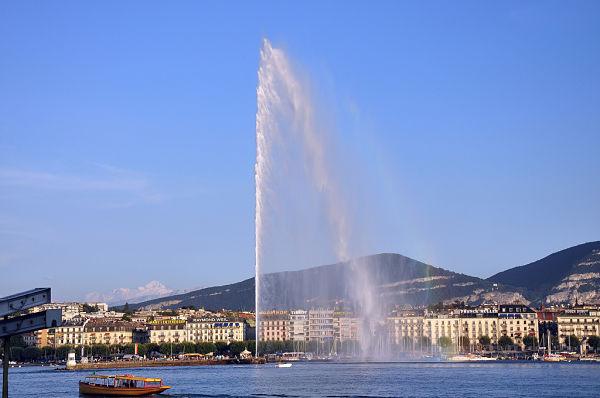 Jet d'eau, la famosa fuente de Ginebra