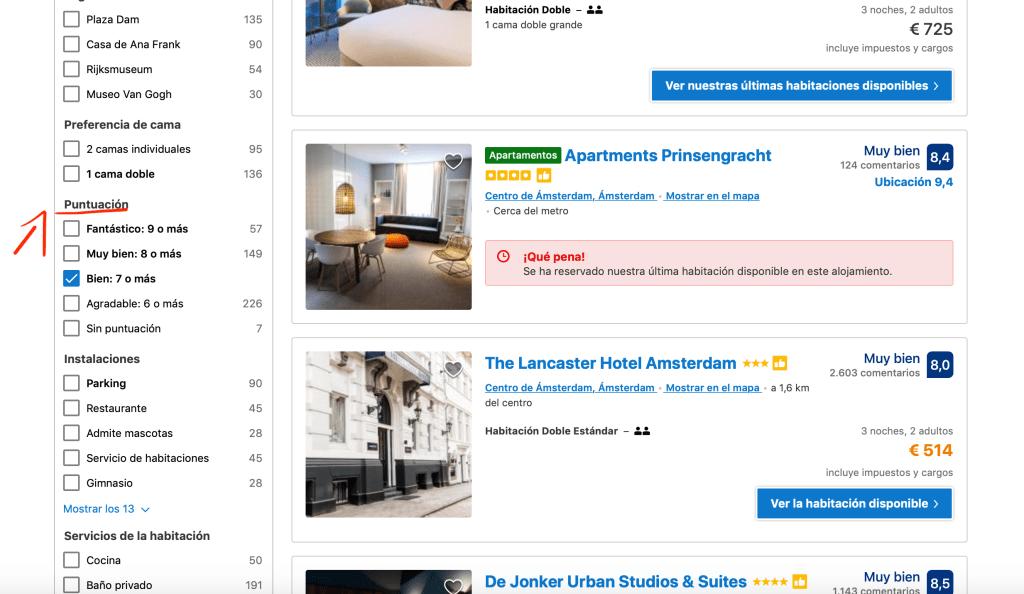 Zona de filtros en Booking para filtrar por nota o puntuación y encontrar hoteles baratos.
