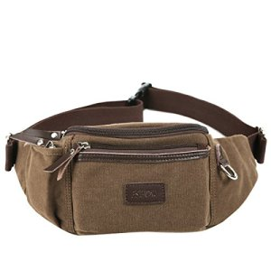 Eshow Men's Canvas Runners Fanny Pack, Brown Model: Eshow-BFY000011 4