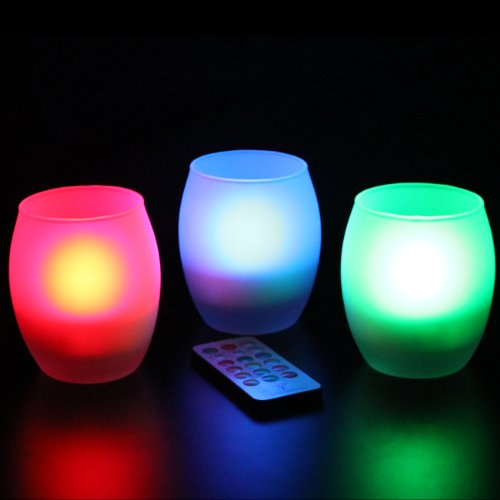 Frostfire Mooncandles Frosted Glass Color Changing Candles with Remote Control, Set of 3 1