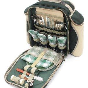 Greenfield Collection Deluxe - Mochila de picnic para cuatro personas, color verde bosque 7
