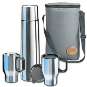 Isosteel VA-9600B Touring Set 1x 0.9 L Vacuum Flask 18/8 Stainless Steel with Quickstop Single-Handed Pouring... 2