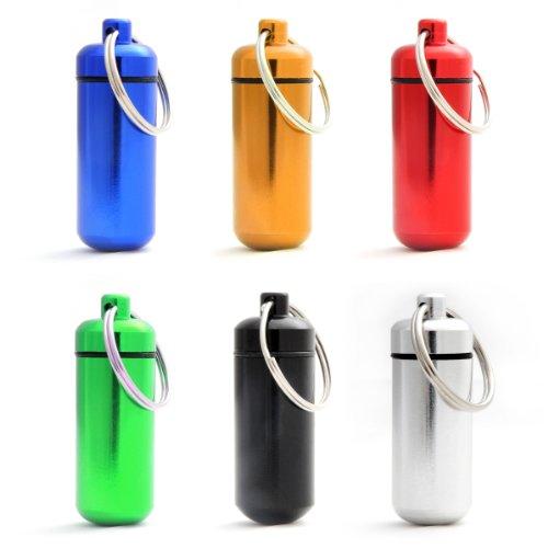 Ganzoo - Minicápsulas impermeables de almacenamiento para objetos pequeños, llavero con cierre de rosca y junta de goma, fabricadas en aluminio, 45 mm, 6 unidades, color negro, plata, rojo, azul, amarillo y verde 1