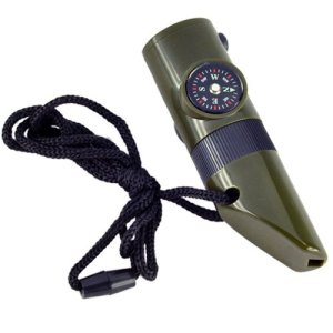 SODIAL(R) 7 in 1 Military Style Emergency Whistle Survival Kit Compass Thermometer LED 3
