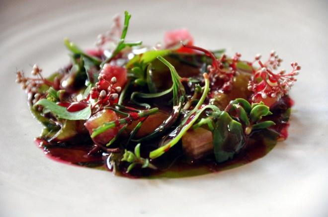 Restaurant Noma: Rå rejer med tang, rabarber og urter