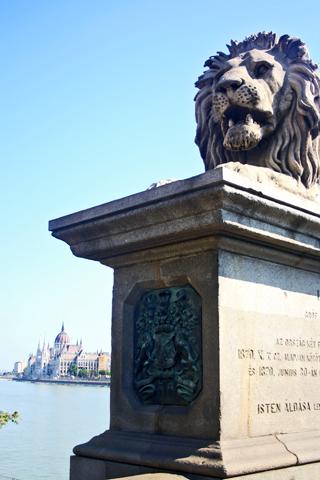 Puente de las Cadenas león Danubio Budapest
