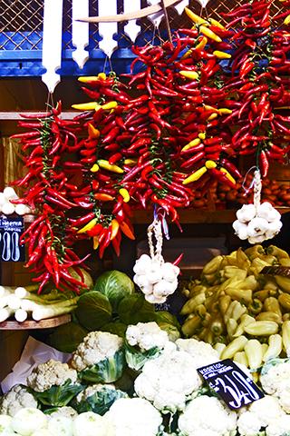 Paprika verduras puesto callejero Váci utca Budapest