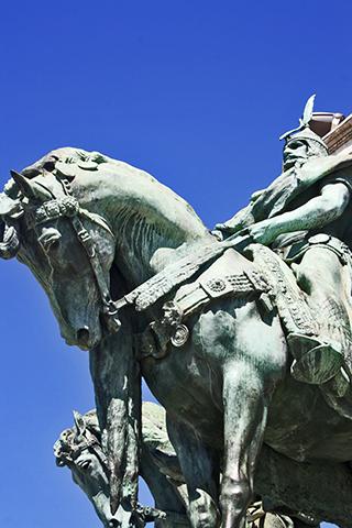 Héroes magyar a caballo Plaza de los Héroes Budapest