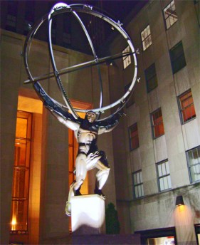 Atlas in Rockefeller Center at night