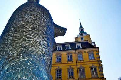 Escultura oso piedra fachada lateral amarilla Palacio Oldenburg Alemania