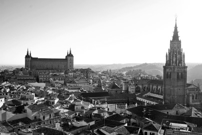 Panorámica Alcázar ciudad Toledo blanco y negro
