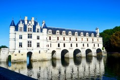 Panorámica lateral reflejo río Cher Castillo Chenonceau