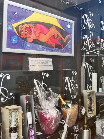 Escaparate creativo ilustración bodega regalos barrio El Carmen Valencia