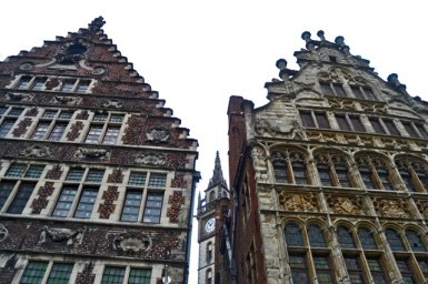 Fachadas neoclásicas centro histórico Gante Flandes