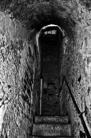 Pasillo terror Castillo Drácula Bran Rumanía blanco y negro