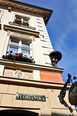 Esquina placa calle Florianska Cracovia