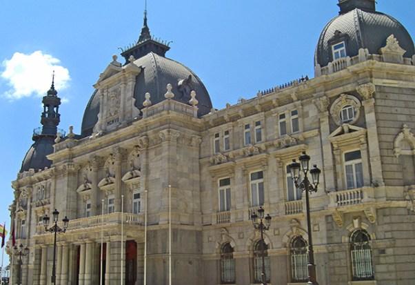 Fachada ecléctica fachada Palacio Consistorial ayuntamiento Cartagena