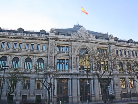 Fachada ecléctica Banco de España calle Alcalá Madrid