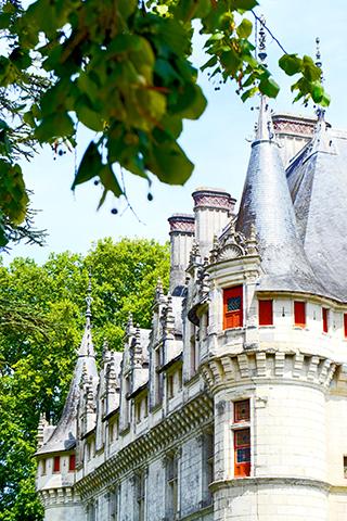 Decoración superior torres tejados pináculos almenas piedra castillo Azay-le-Rideau Francia