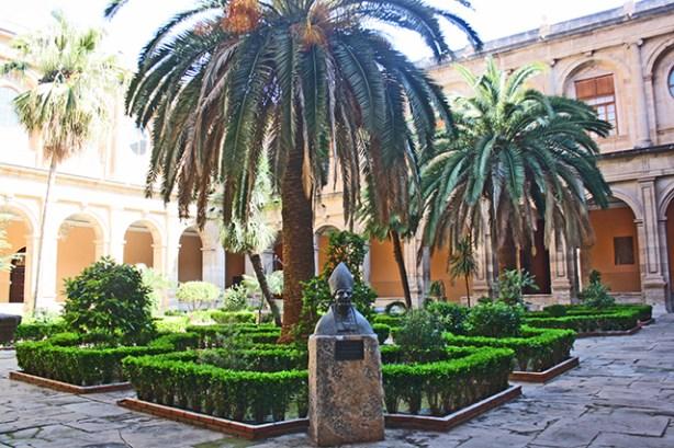 Palmera claustro Colegio Santo Domingo Orihuela busto Fernando de Loazes